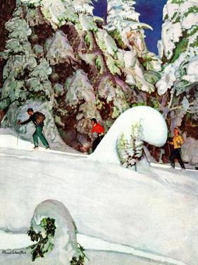 """""""Cross Country Skiers,"""" February 2, 1946 by Mead Schaeffer"""