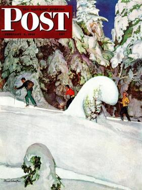 """Cross Country Skiers,"" Saturday Evening Post Cover, February 2, 1946 by Mead Schaeffer"