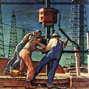 """Drilling for Oil,"" November 9, 1946 by Mead Schaeffer"