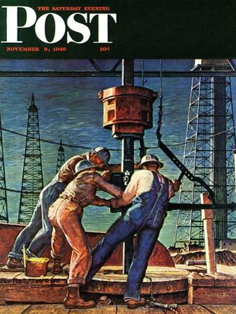 """Drilling for Oil,"" Saturday Evening Post Cover, November 9, 1946 by Mead Schaeffer"