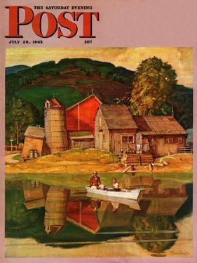 """Farm Pond Landscape,"" Saturday Evening Post Cover, July 28, 1945 by Mead Schaeffer"