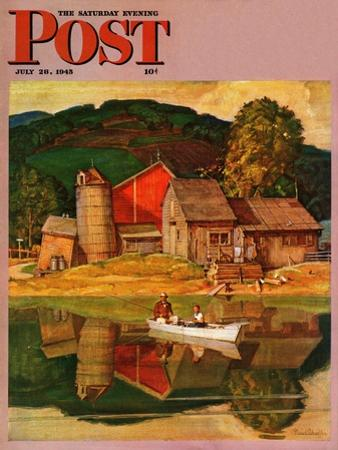 """Farm Pond Landscape,"" Saturday Evening Post Cover, July 28, 1945"