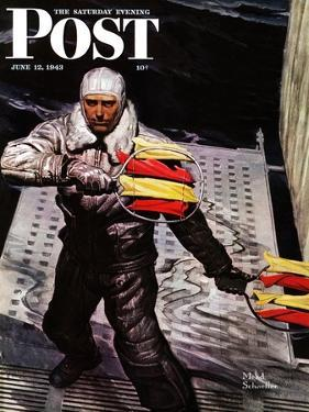 """Flight Controller on Aircraft Carrier,"" Saturday Evening Post Cover, June 12, 1943 by Mead Schaeffer"