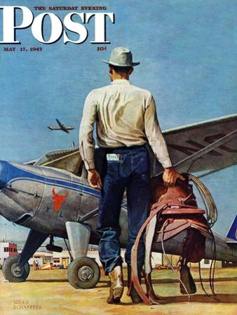 """""""Flying Cowboy,"""" Saturday Evening Post Cover, May 17, 1947 by Mead Schaeffer"""