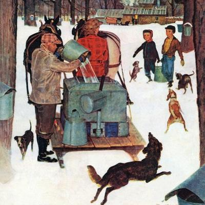 """""""Maple Syrup Time in Vermont,"""" February 17, 1945 by Mead Schaeffer"""