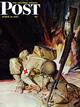 """Medic Treating Injured in Field,"" Saturday Evening Post Cover, March 11, 1944 by Mead Schaeffer"