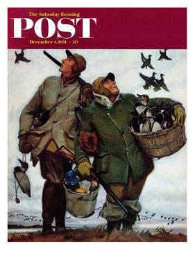 """Nothing but Decoys"" Saturday Evening Post Cover, December 1, 1951 by Mead Schaeffer"