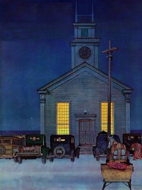 """Rural Church at Night,"" December 30, 1944 by Mead Schaeffer"