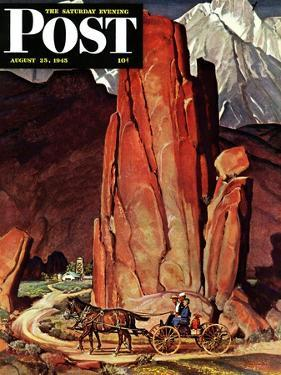 """""""Sailor Comes Home to Mountain Ranch,"""" Saturday Evening Post Cover, August 25, 1945 by Mead Schaeffer"""