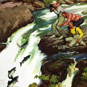 """""""Salmon Running Upstream"""", May 17, 1952 by Mead Schaeffer"""
