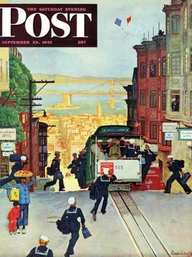 """San Francisco Cable Car,"" Saturday Evening Post Cover, September 29, 1945 by Mead Schaeffer"