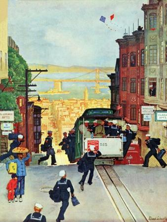 """San Francisco Cable Car,"" September 29, 1945 by Mead Schaeffer"