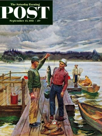 """""""Showing Off the Big One"""" Saturday Evening Post Cover, September 15, 1951"""