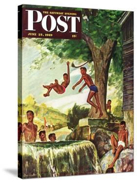 """""""Swimming Hole"""" Saturday Evening Post Cover, June 25, 1949 by Mead Schaeffer"""