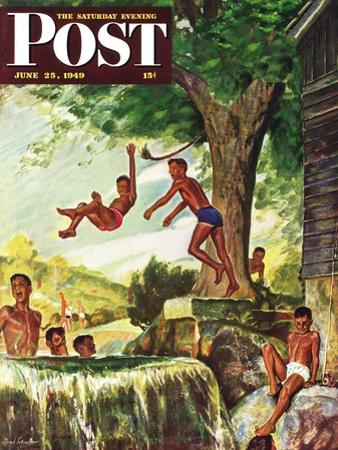 """""""Swimming Hole"""" Saturday Evening Post Cover, June 25, 1949"""