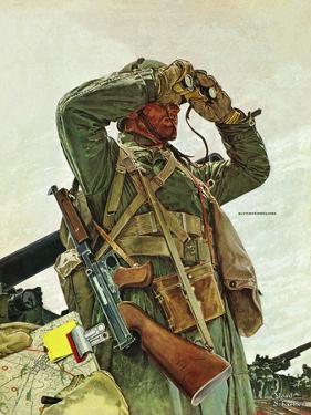 """""""Tank Patrol,"""" November 6, 1943 by Mead Schaeffer"""