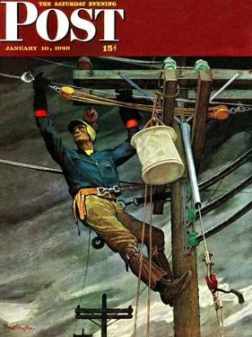 """Telephone Lineman,"" Saturday Evening Post Cover, January 10, 1948 by Mead Schaeffer"