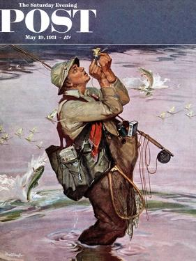 """The Fish are Jumping"" Saturday Evening Post Cover, May 19, 1951 by Mead Schaeffer"