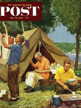 """Three Generations Camping"" Saturday Evening Post Cover, May 30, 1953"