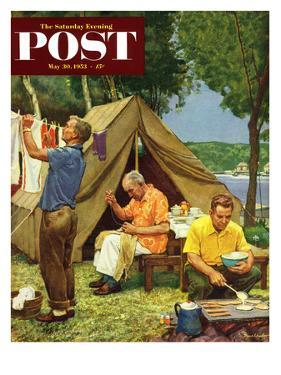 """Three Generations Camping"" Saturday Evening Post Cover, May 30, 1953 by Mead Schaeffer"