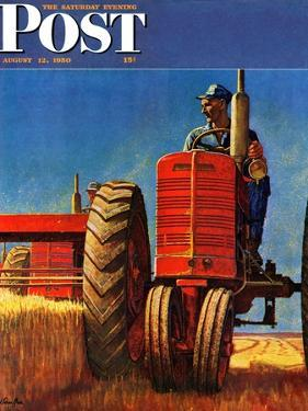 """Wheat Harvest"" Saturday Evening Post Cover, August 12, 1950 by Mead Schaeffer"
