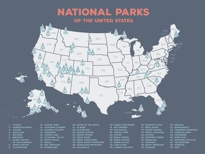 Map Of Us Showing All National Parks national park service us