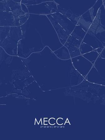 Mecca, Saudi Arabia Blue Map