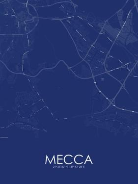 Mecca, Saudi Arabia Blue Map