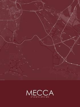 Mecca, Saudi Arabia Red Map