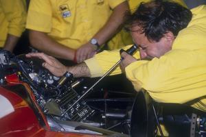 Mechanic at Work in the Ferrari Pits, 1988