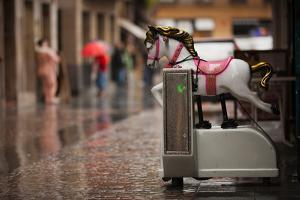 Mechanical horse toy, Old Town, Bilbao, Biscay Province, Basque Country Region, Spain