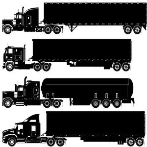 Detailed Trucks Silhouettes Set by Mechanik