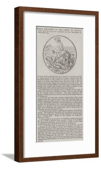 Medal Presented to the Widow of Captain Boyd for His Gallant Attempt to Save the Crew of the Neptun--Framed Giclee Print