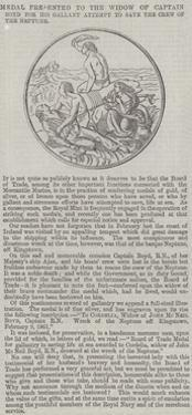 Medal Presented to the Widow of Captain Boyd for His Gallant Attempt to Save the Crew of the Neptun