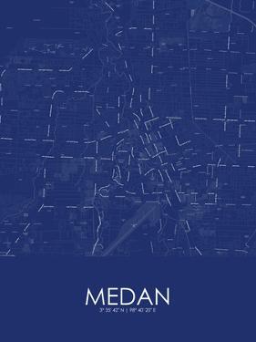 Medan, Indonesia Blue Map