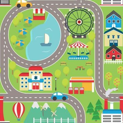 Lovely City Landscape Car Track Seamless Pattern for Play Mats, Rugs and Decoration. Sunny City Lan by medejaja