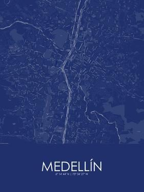 Medellin, Colombia Blue Map