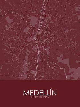Medellin, Colombia Red Map
