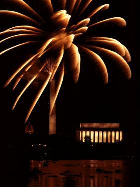 Fourth of July Fireworks from the Potomac River Overlooking the Lincoln Memorial by Medford Taylor