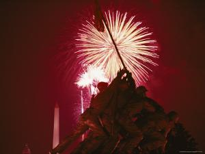 Fourth of July Fireworks over the Iwo Jima Monument by Medford Taylor