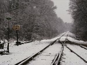 Railroad Tracks in Snow at the Courtland City Limit by Medford Taylor