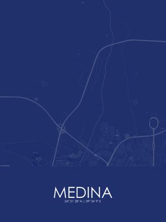Medina, Saudi Arabia Blue Map