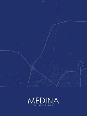 Medina, Saudi Arabia Blue Map