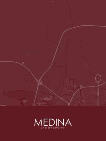 Medina, Saudi Arabia Red Map