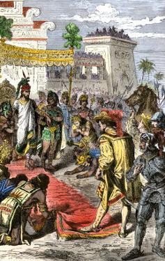 Meeting of Hernando Cortes and Aztec Emperor Montezuma II in Tenochtitlan, c.1519