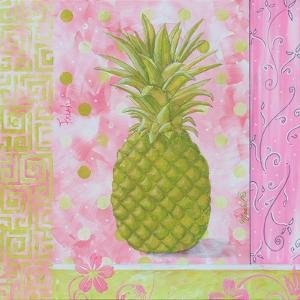 Pineapple Pink and Green Flower by Megan Aroon Duncanson
