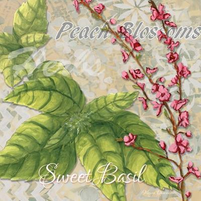 Sophisticated Elegant Herbs Spices Basil Peach by Megan Aroon Duncanson