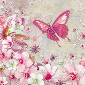 Whimsical Butterfly Pink Flowers by Megan Aroon Duncanson