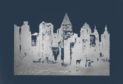 Silver Foil Skyline on Cobalt by Megan Meagher