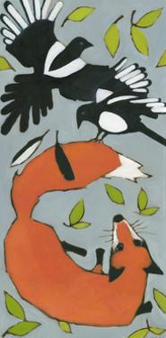 Magpies and Fox, 2013 by Megan Moore